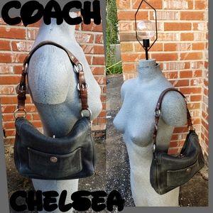 Chelsea Black Pebbled Leather Coach q3houlder Bag